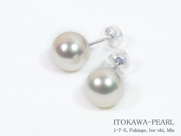 無調色花珠真珠あこや真珠ピアス<9.1mm>スタッド・PT900鑑別書付 PE-7137