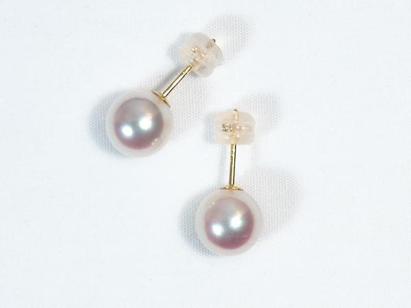 花珠真珠あこや真珠ピアス<8.5mm>スタッド・K18YG鑑別書付 PE-6850