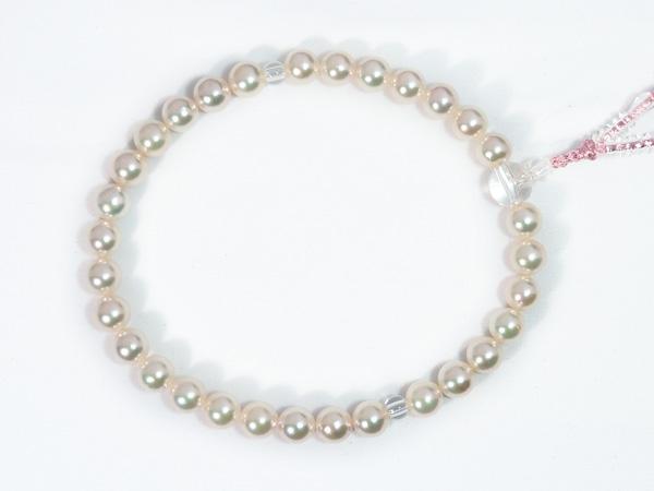 あこや真珠念珠(数珠)<8〜8.5mm>人絹(赤藤)J-469