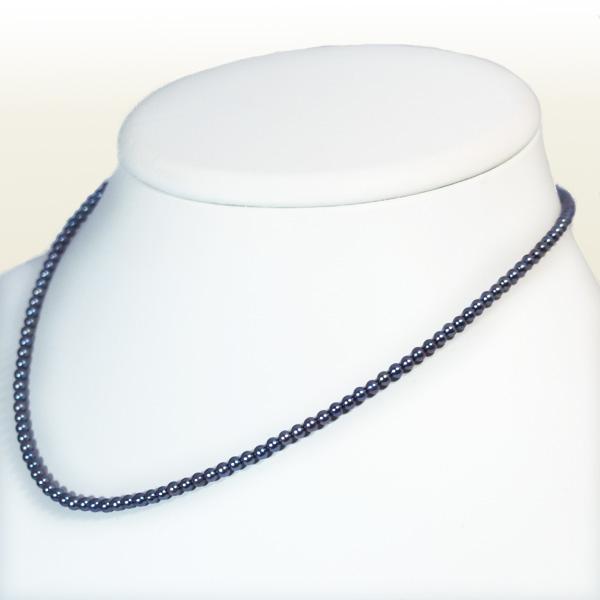 ブルーブラック系あこや真珠ベビーパールネックレス<2.5〜3mm>アジャスター付・K14WG N-9886