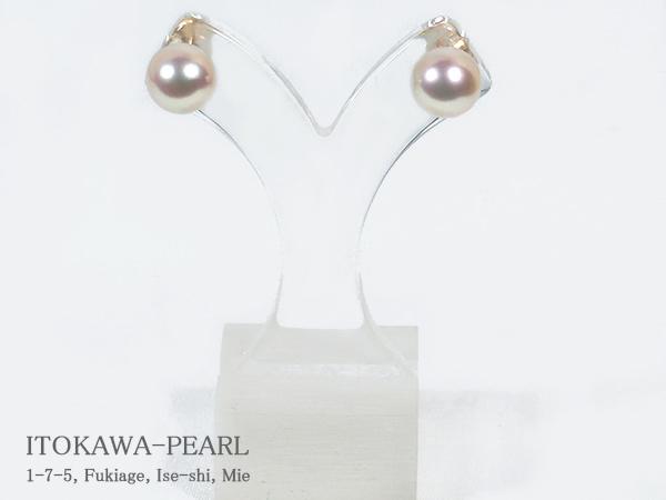 花珠真珠 あこや真珠ピアス<8.5mm>スタッド・K18YG 鑑別書付 PE-6848