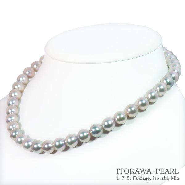真多麻真珠 グレー系あこや真珠ネックレス<9.5〜10mm>鑑別書付 N-11891