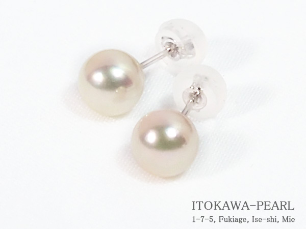 あこや真珠ピアス<6.3mm>スタッド・K14WG PE-7249