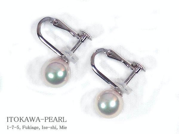 あこや真珠イヤリング<7.7mm>ネジバネ式・K14WG  E-4710