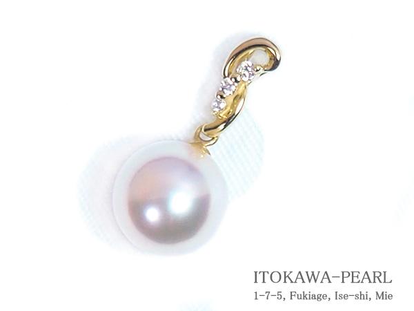 花珠真珠ペンダントトップ<8.6mm> K18YG・ダイヤモンド0.03ct 鑑別書付 P-8337