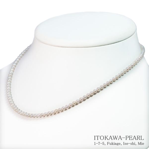 あこや真珠ベビーパールネックレス<3〜3.5mm>アジャスター・K14WG N-12187