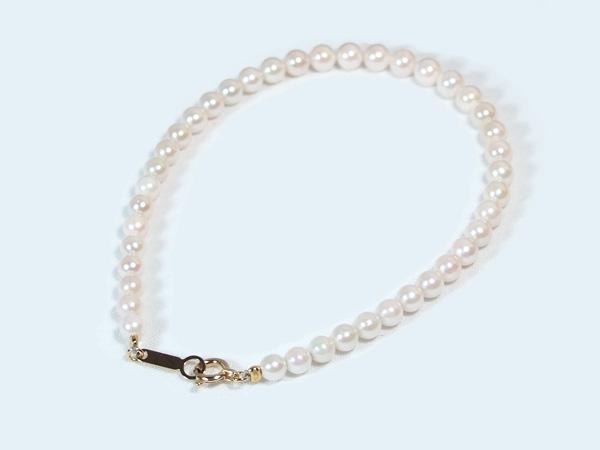 あこや真珠ブレスレット<3.5〜4mm>引き輪とプレートタイプ/K18YG(17cm) V-1602