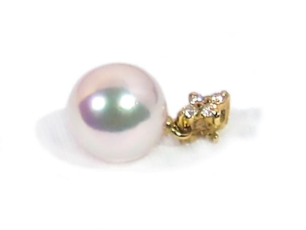 花珠真珠ペンダントトップ<8.4mm>K18YG・ダイヤモンド 0.06ct 鑑別書付 P-8335