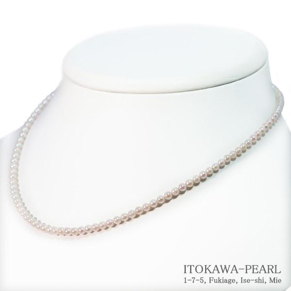 あこや真珠ベビーパールネックレス<3〜3.5mm>アジャスター・K14WG N-12188