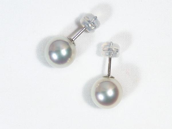 無調色・花珠真珠あこや真珠ピアス<9mm>スタッド・PT900鑑別書付 PE-6990