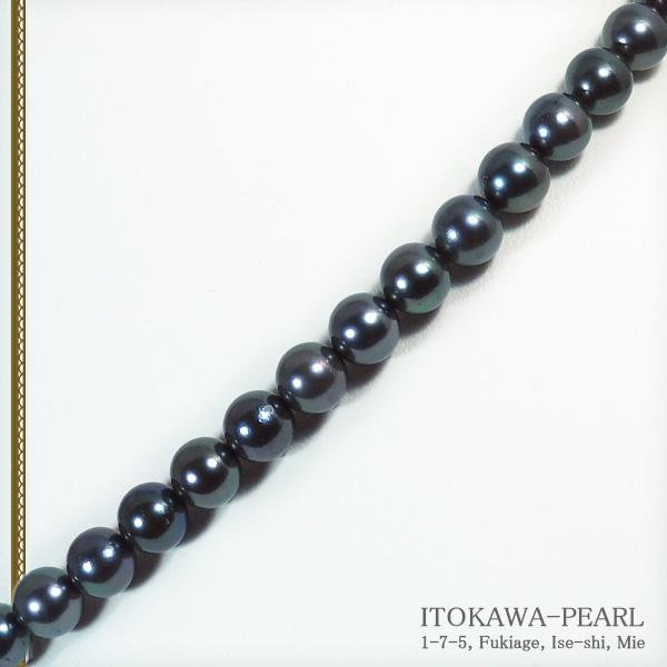 グレー系あこや真珠ネックレス<6.5〜7mm> N-11432
