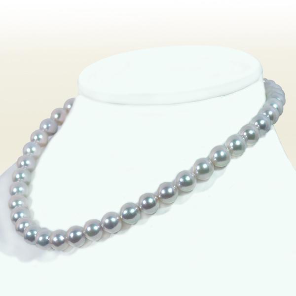 真多麻真珠 グレー系 あこや真珠ネックレス <9.5〜10mm>  鑑別書付 N-11844