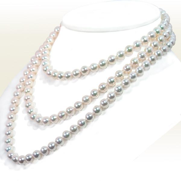 ロングネックレス(133cm) あこや真珠ネックレス<7.5〜8mm>N-12051