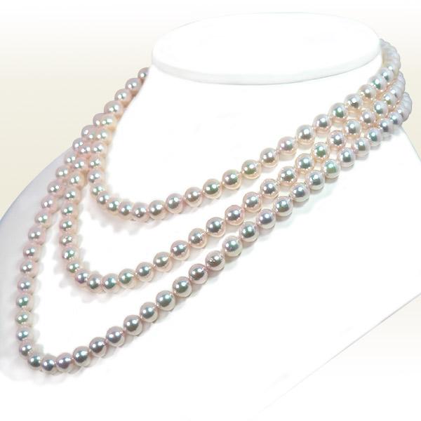 ロングネックレス (134cm) あこや真珠ネックレス<7〜7.5mm> N-12086