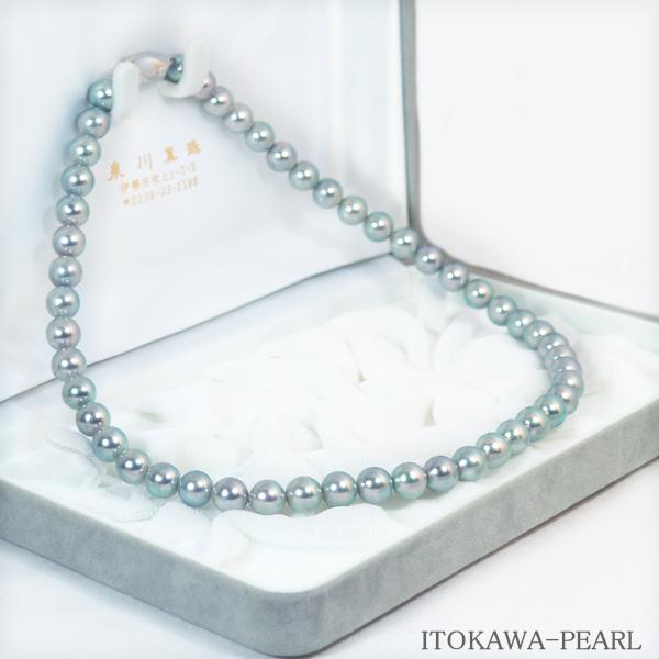 グレー系あこや真珠ネックレス<8〜8.5mm> N-11440