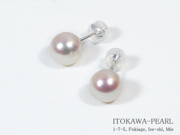 あこや真珠ピアス<8.5mm>スタッド・K14WG PE-6889