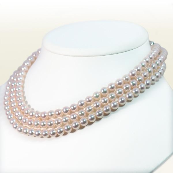 ロングネックレス(125.5cm)あこや真珠ネックレス<6.5〜7mm>N-12209