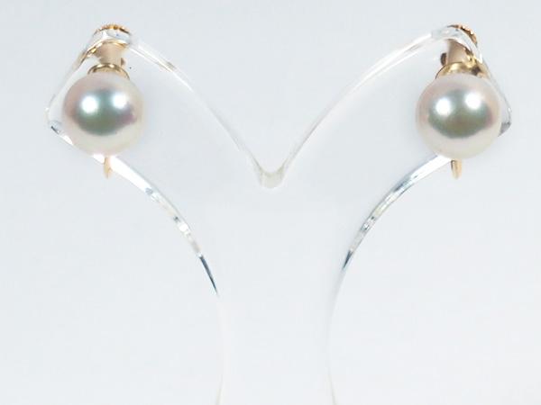 あこや真珠イヤリング<7.6mm>ネジ式・K18YG E-4712