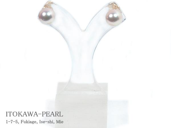 花珠真珠 あこや真珠ピアス<8.1mm>スタッド K18YG PE-7204