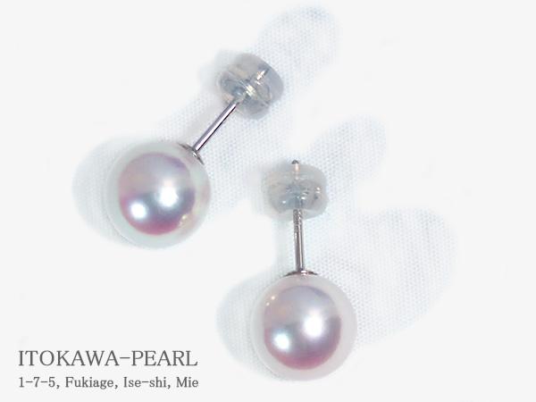 無調色・花珠真珠あこや真珠ピアス<9mm>スタッド・PT900 鑑別書付 PE-7055