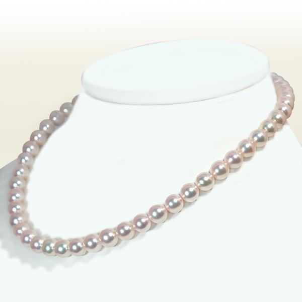 花珠真珠 あこや真珠ネックレス<8〜8.5mm> 鑑別書付 N-11628