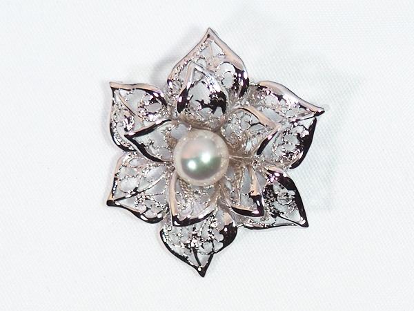 あこや真珠ブローチ<7.4mm>・シルバー B-1462