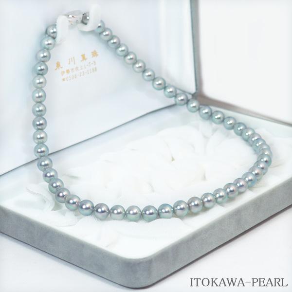 グレー系あこや真珠ネックレス<7.5〜8mm> N-11367