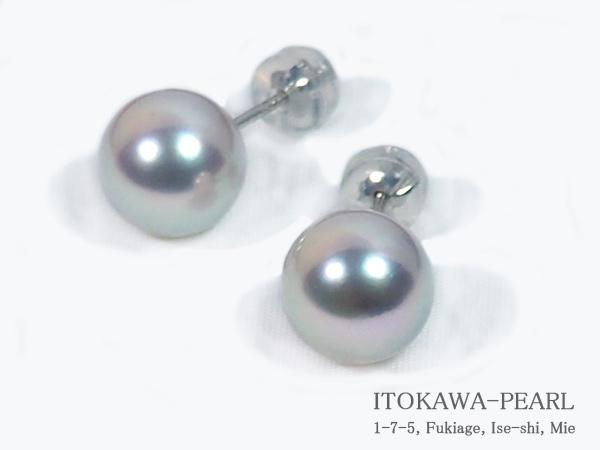 グレー系 無調色 あこや真珠ピアス<9.3mm> スタッド・PT900 PE-7085
