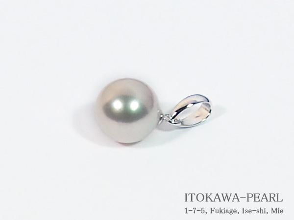 あこや真珠ペンダントトップ<7.6mm>K14WG P-8326