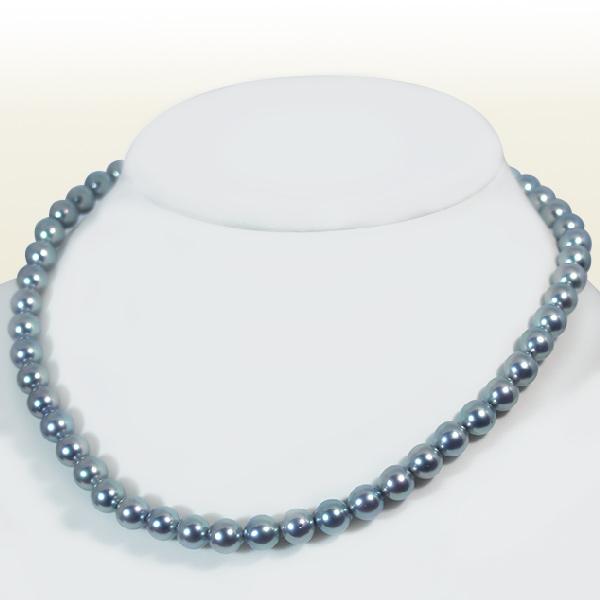 グレー系あこや真珠ネックレスパールネックレス<7.5〜8mm>アコヤ真珠 N-11032