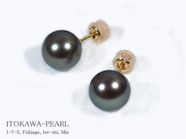 ブラック系 タヒチ真珠 ピアス<9.7mm> スタッド・K18YG PE-6861