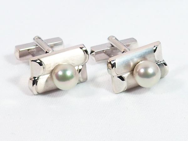 あこや真珠カフス&タイホルダー<7.3mm/6.6mm>・シルバー C-369