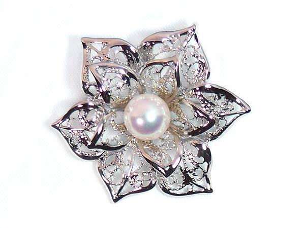 あこや真珠ブローチ<7.5mm>・シルバー B-1463