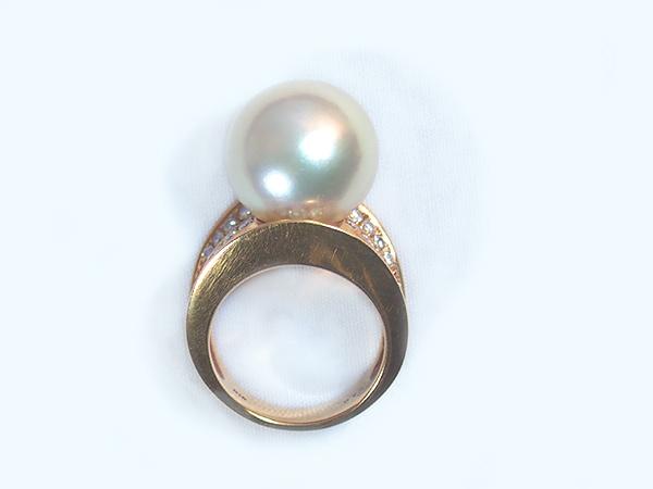 南洋 白蝶真珠リング <14.5mm>K18YG・ダイヤモンド0.75ct R-12421