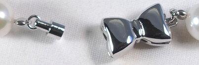 あこや真珠ブレスレット7〜7.5mm 挟み込み式マグネット(18.5cm)/シルバー V-1624