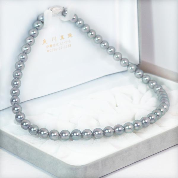 グレー系 あこや真珠パールネックレス<8〜8.5mm>N-11738