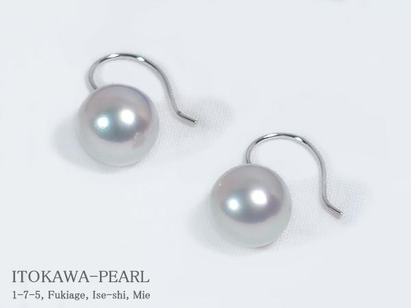 グレー系あこや真珠ピアスパールピアス<9mm>アメリカン・K14WGアコヤ真珠 PE-6281