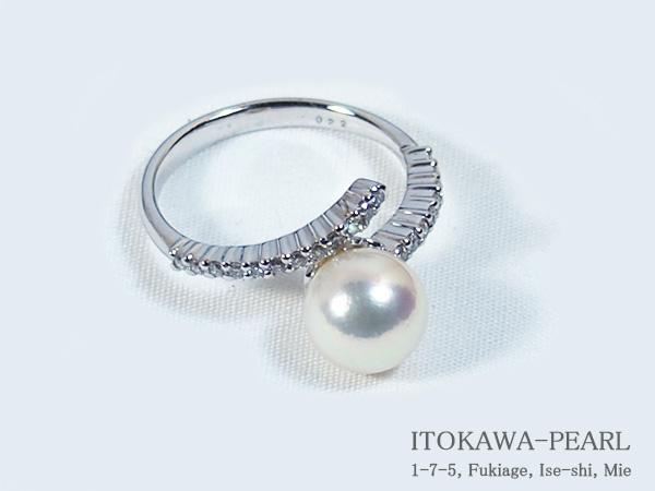 あこや真珠リングパール リング <8.1mm>プラチナ・ダイヤモンド0.22ctアコヤ真珠 R-13562