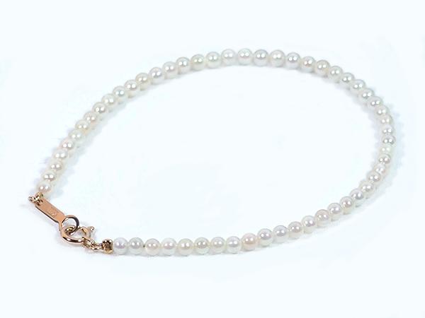 あこや真珠ブレスレット<2.5〜3mm>引き輪とプレートタイプ/K18YG(17cm) V-1600