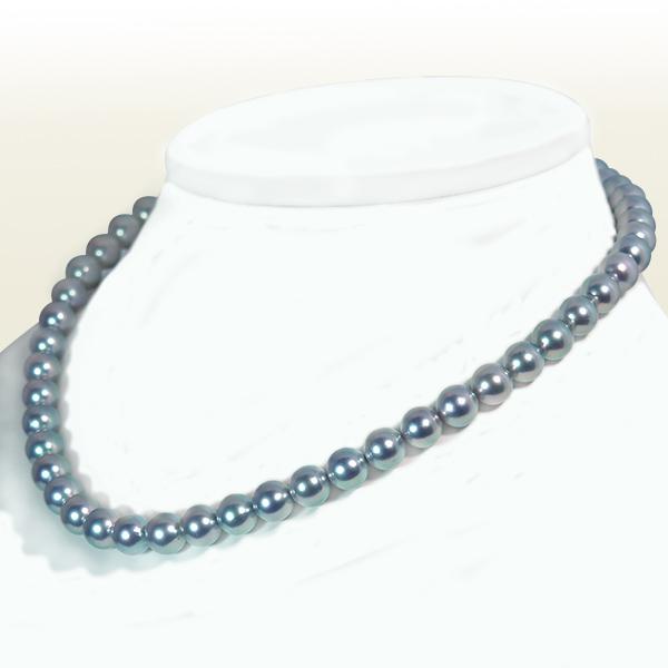 グレー系 あこや真珠パールネックレス<8〜8.5mm>N-11740