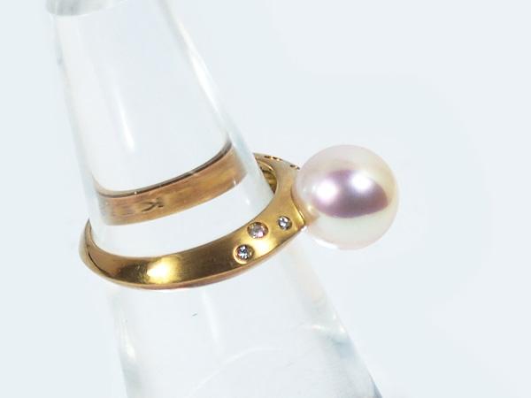 あこや真珠リングパール リング <9.2mm>K18・ダイヤモンド0.07ctアコヤ真珠 R-13771