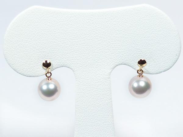 花珠真珠あこや真珠ぶら下がりタイプピアス<8.2mm>スタッド・K18YG 鑑別書付 PE-6964