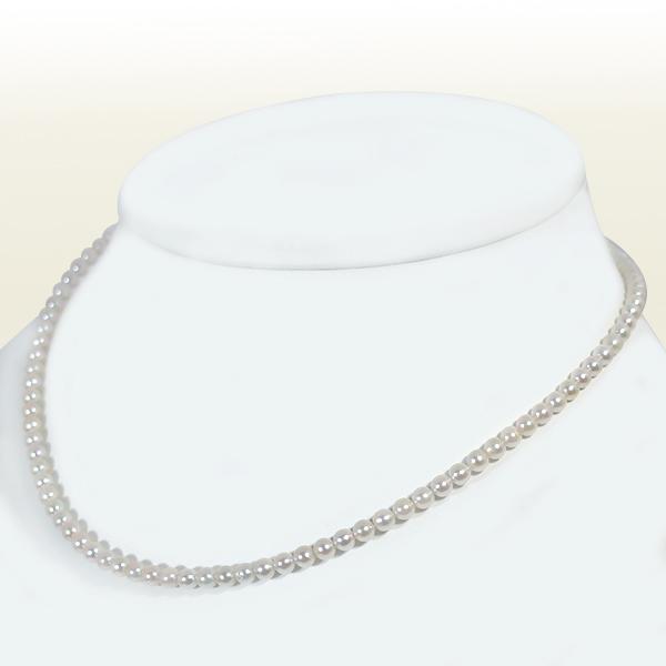 ホワイト系あこや真珠ネックレスベビーパールネックレス<3.5〜4mm>アジャスター付・K18アコヤ真珠N-11197