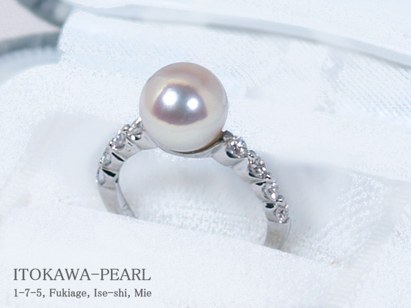 花珠真珠範疇リングパール リング <8.3mm>プラチナ・ダイヤモンド0.3ctアコヤ真珠 鑑別書付 R-13786