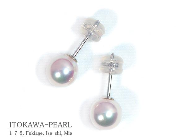 あこや真珠ピアス<7.2mm>スタッドK14WG PE-7006