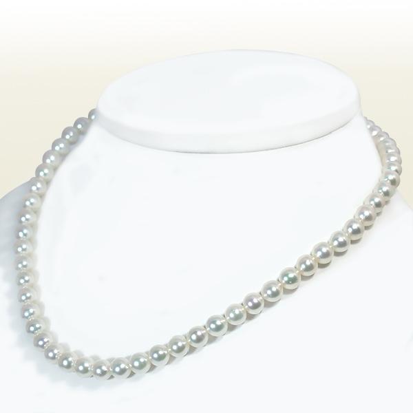 無調色 あこや真珠ネックレスパールネックレス<6.5〜7mm>アコヤ真珠 N-11325