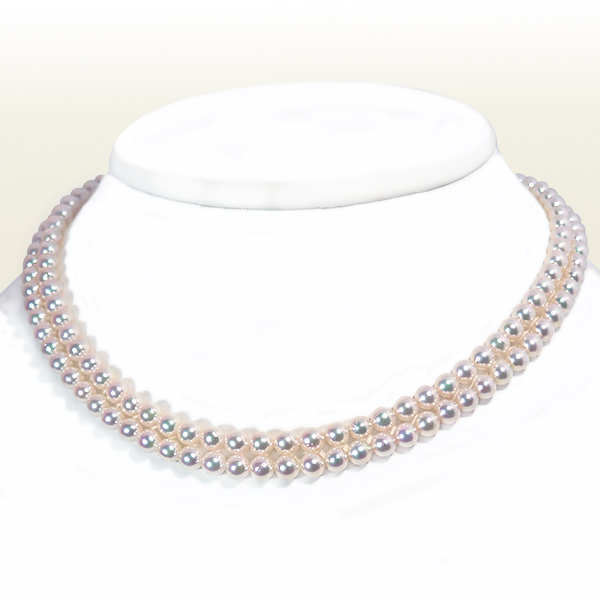 あこや真珠2連パールネックレス<5〜5.5mm>N-11689
