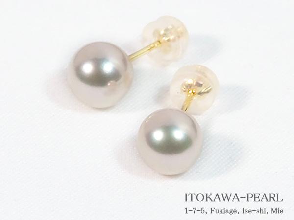花珠真珠あこや真珠ピアス<7.5mm>スタッドK18YG PE-7224