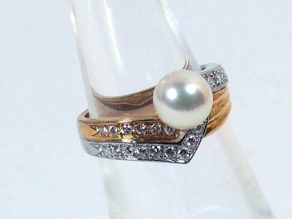 あこや真珠リングパール リング <7.3mm>プラチナ・ダイヤモンド0.3ctアコヤ真珠 R-13813