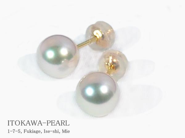 花珠真珠 あこや真珠ピアス<8mm>スタッド・K18YG 鑑別書付 PE-7058